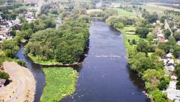 Vue aérienne de la Rivière Yamaska