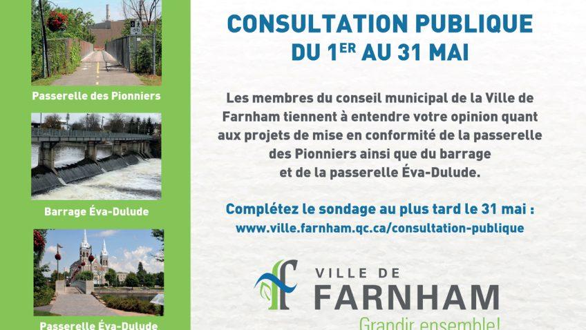 Consultation publique pour les passerelles et barrages de Farnham
